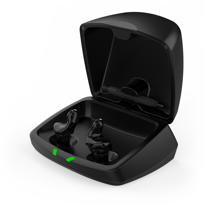 Starkey Custom Charger Open Lid with Black Shell Custom Hearing Aids SE