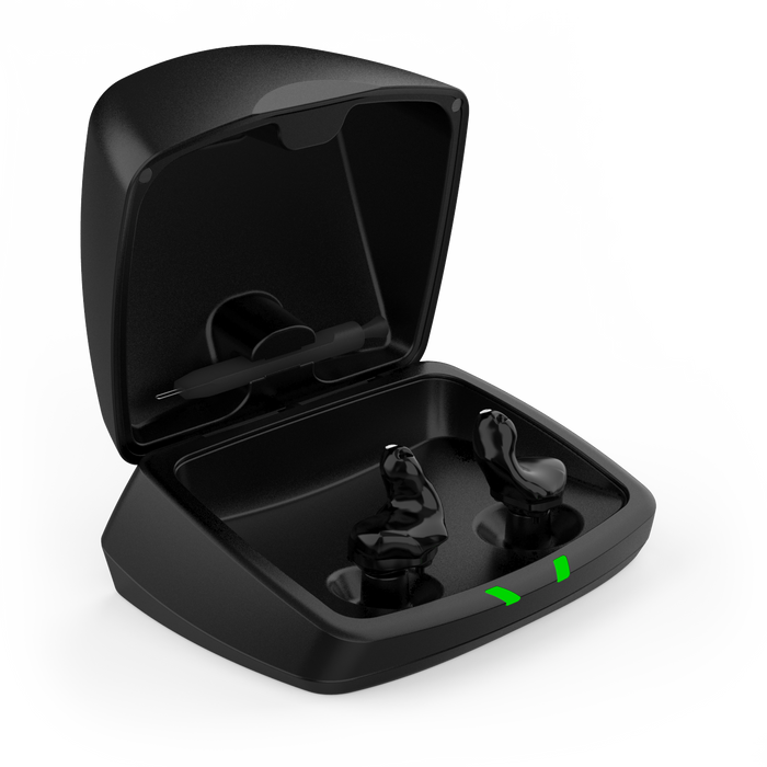 Starkey Custom Charger Open Lid with Black Shell Custom Hearing Aids SW