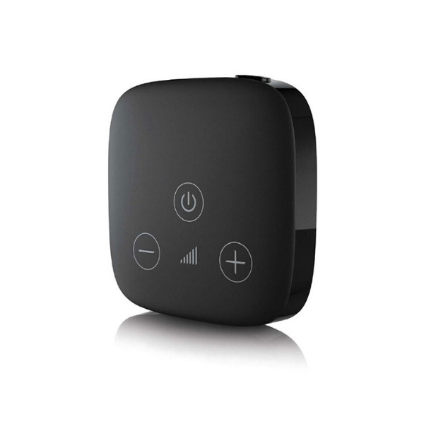 The Unitron TV Connector wirelessly connects your Move, Jump, Fit or Stride wireless hearing devices.