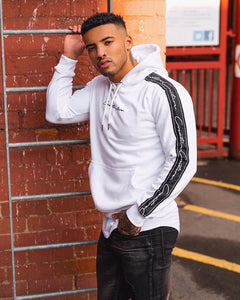 WHITE SIGNATURE TAPERED HOODIE