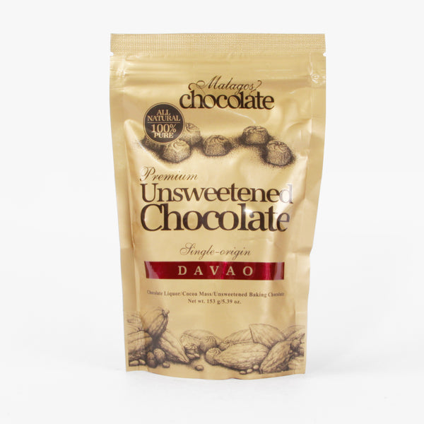 Malagos Premium Unsweetened Chocolate 153g Pouch