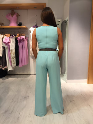 Moncho Heredia Aqua Belt Jumpsuit