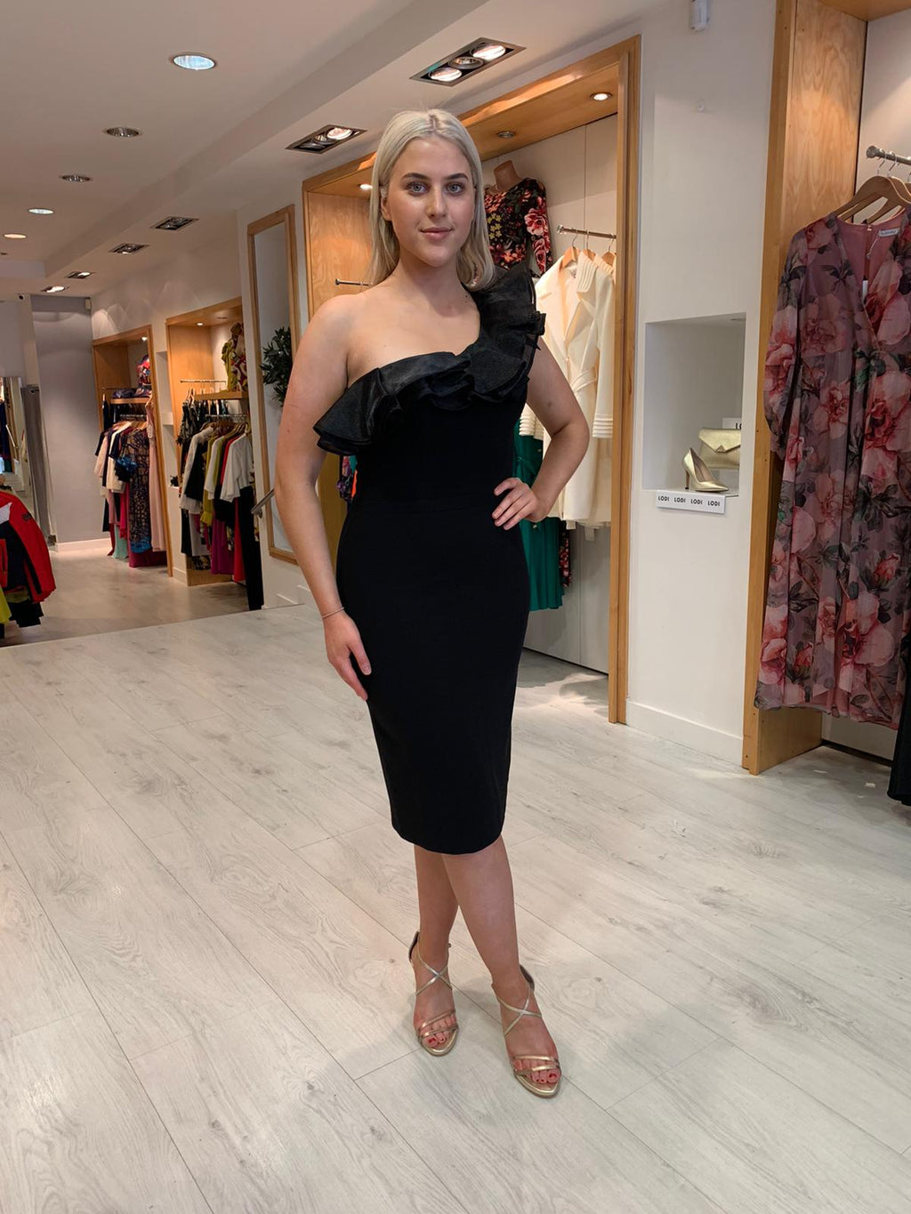 Forever Unique Black One-Shoulder Ruffle Dress