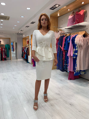 Moncho Heredia White Peplum Dress