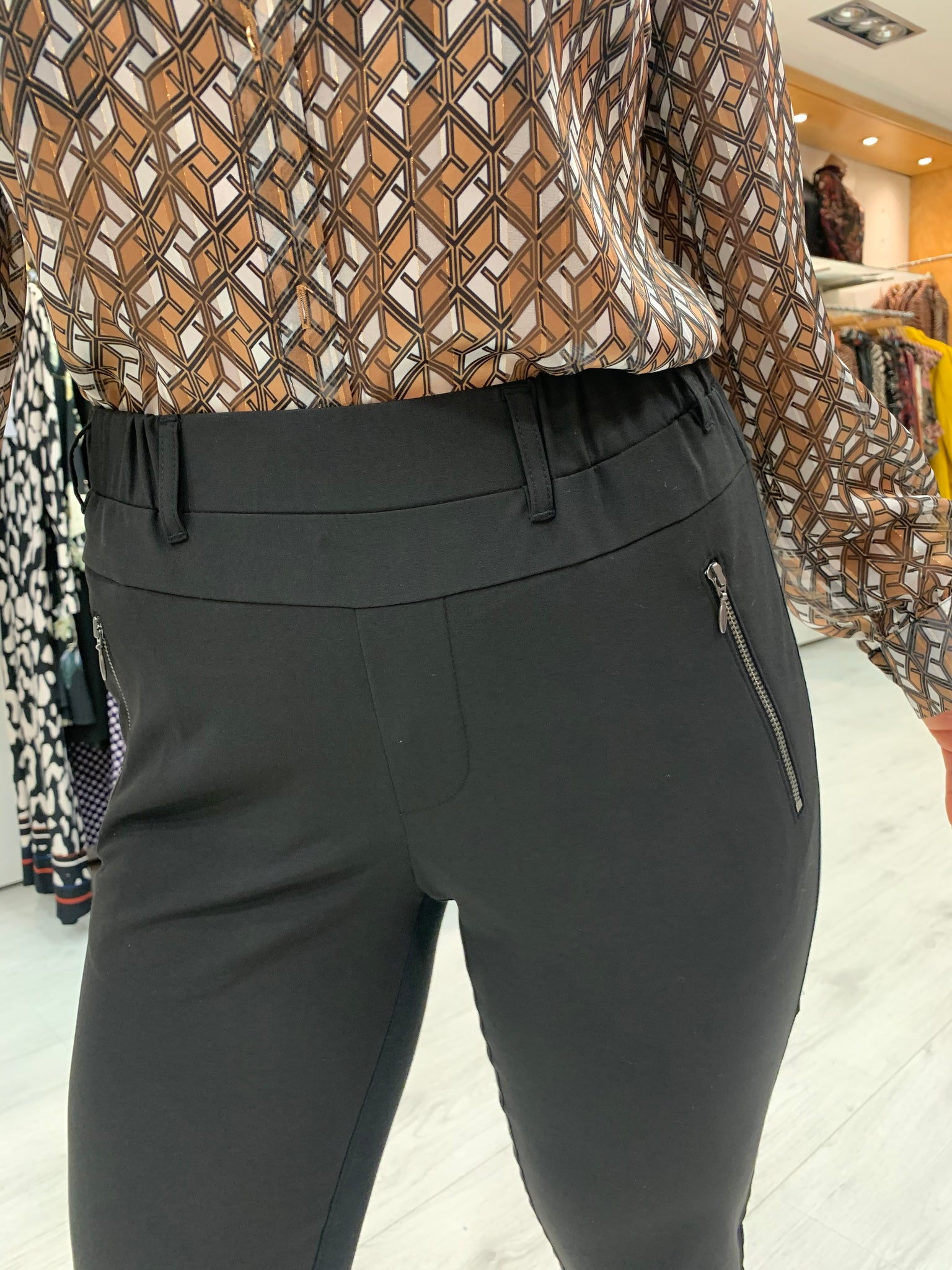 Kaffe Black Zip Pocket Trousers