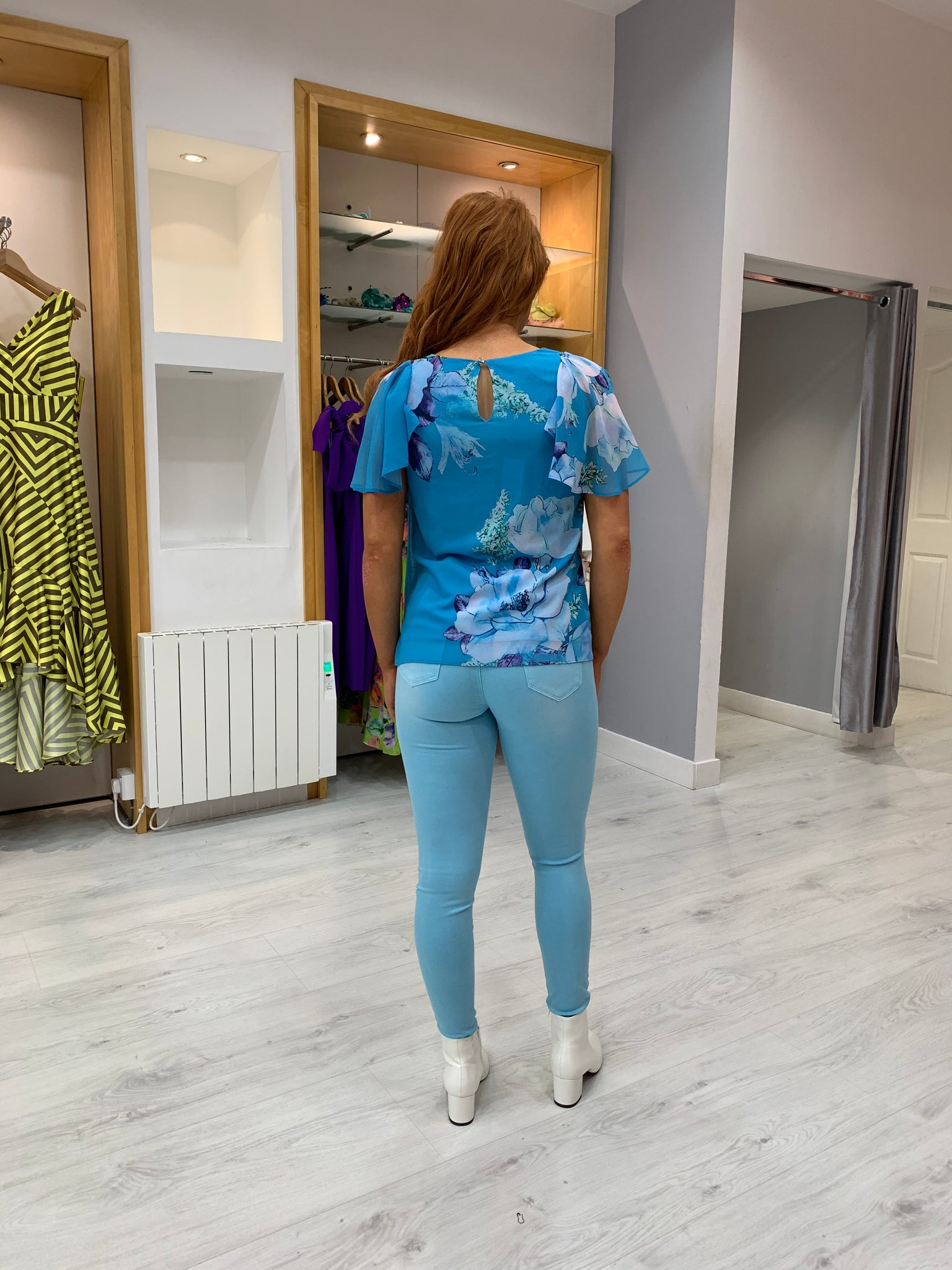 Toxic Turquoise Super High Waist Jeans