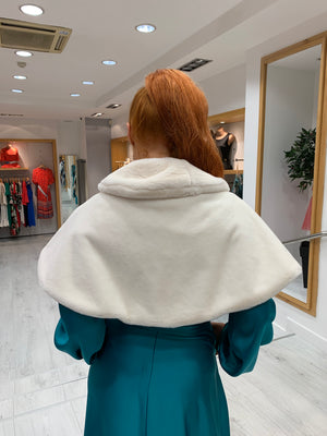 Casting Off White Fur Cape