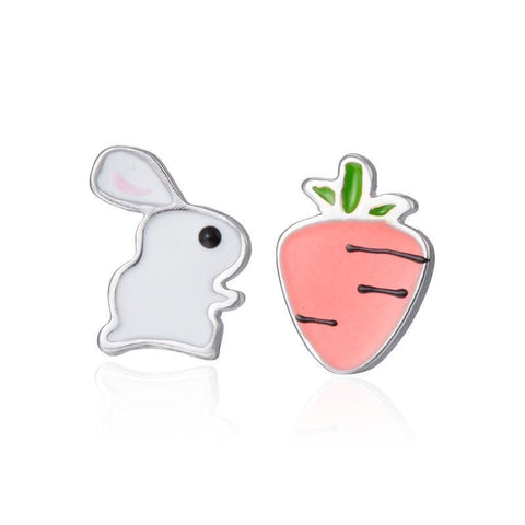Luxurious S925 Silver Bunny and Carrot Earrings