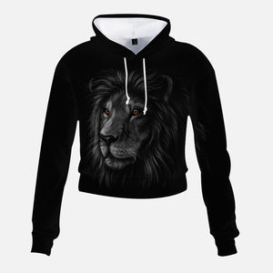 High-Rise Cropped Black Lion Hoodie
