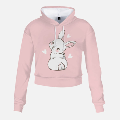 Adorable Pink Bunny But High-Rise Hoodie