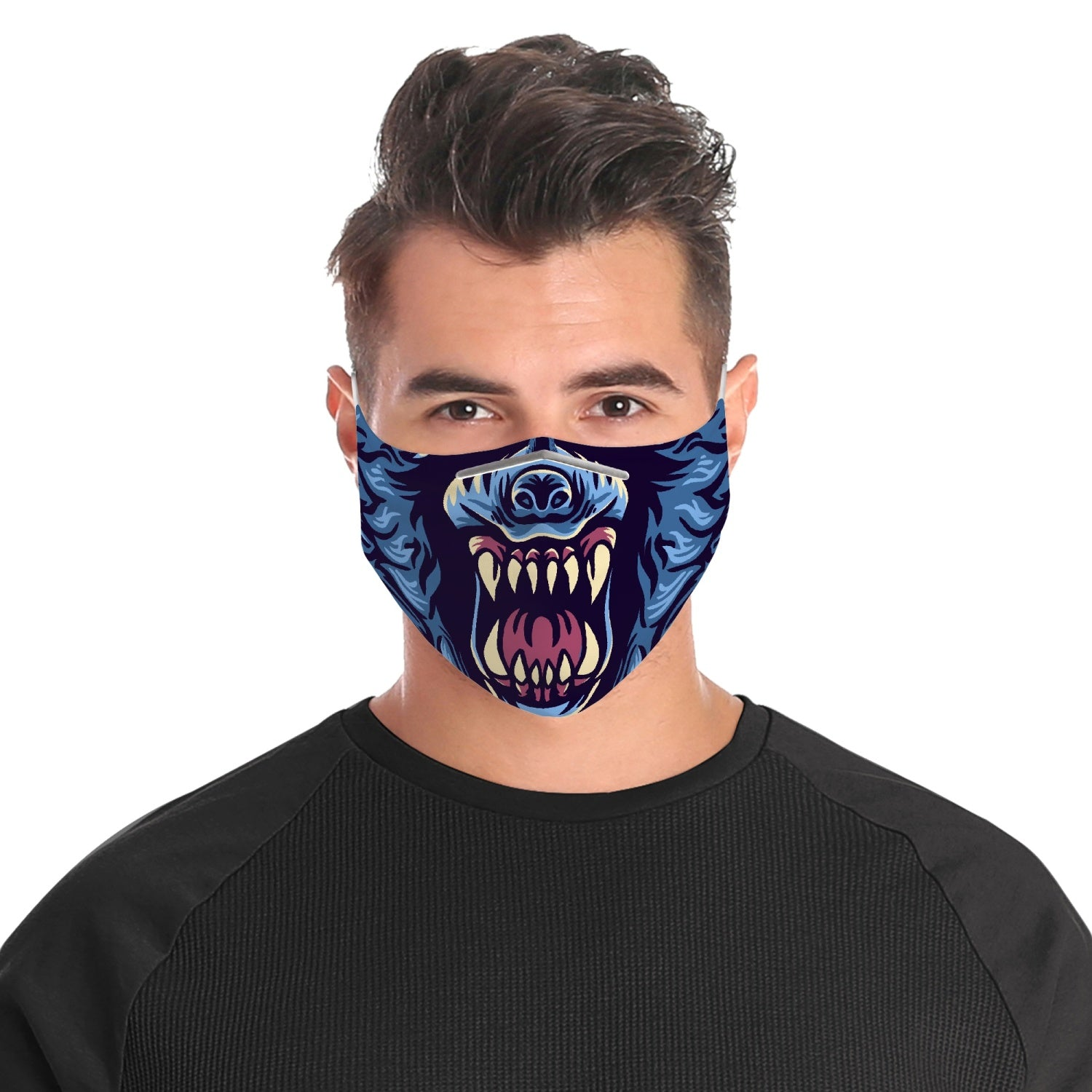 Exclusive Blue Roaring Wolf Face Mask