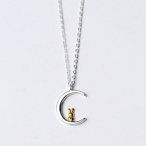 Pure 925 Sterling Silver Rabbit Moon Necklace-Animals Realm