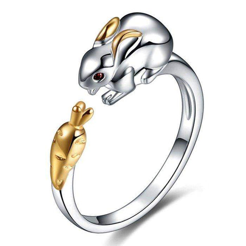 New and Exclusive Gold Plated Bunny and Carrot Ring-Animals Realm