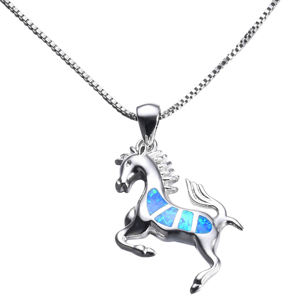 S925 SIlver Blue Opal Horse Necklace