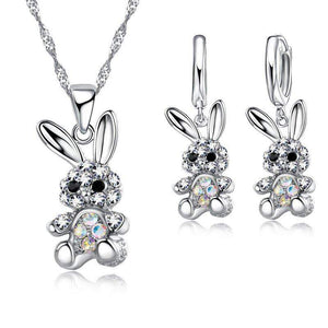 Gorgeous CZ Crystal Rabbit Necklace (S925 Silver Chain) and Earrings Set-Animals Realm