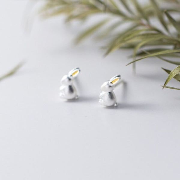 Adorable Pure S925 Silver Bunny Earrings