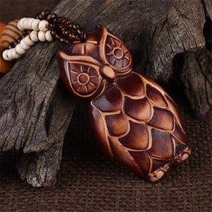 Vintage Bohemian Wooden Owl Necklace - Animals Realm