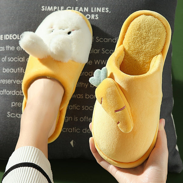 Adorable Bunny and Carrot Indoor Slippers