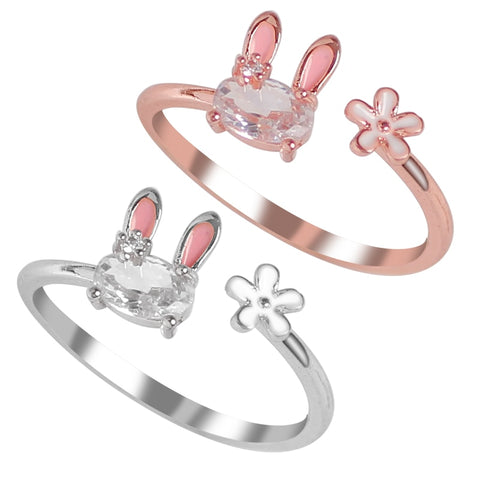 Cute White Diamond Bunny Rings