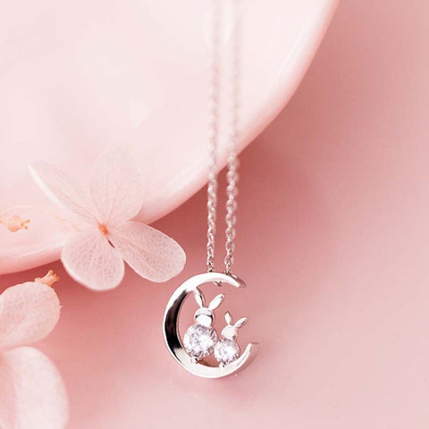 Unique Silver Crystal Bunny Moon Necklace