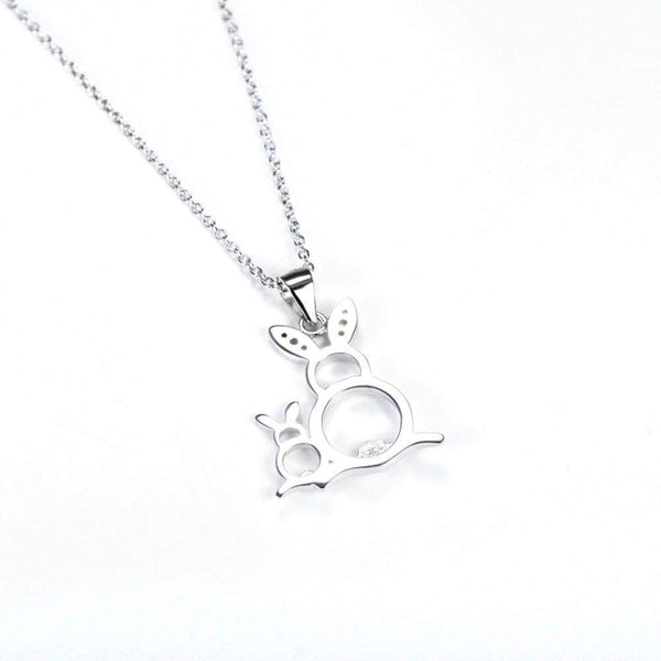 925 Sterling Silver Mother and Baby Rabbit Necklace-Animals Realm