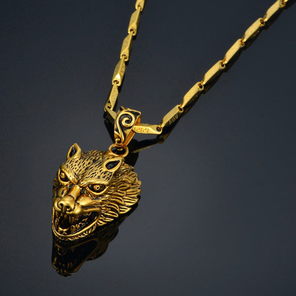 Gorgeous Gold Wolf Necklace