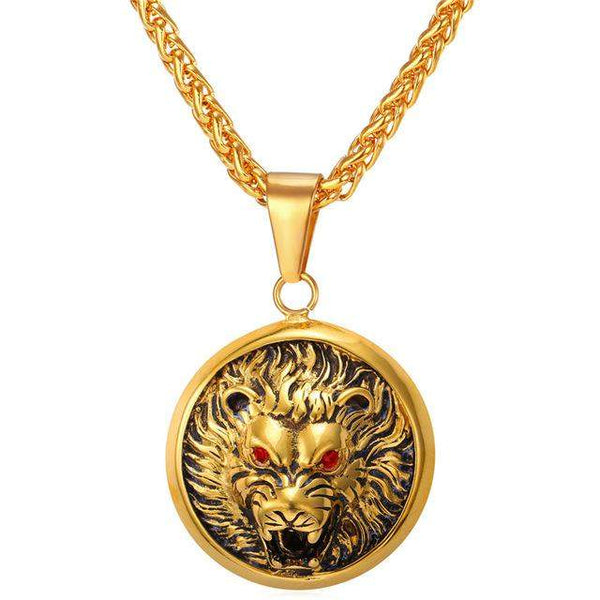 Gold Plated Dangerous Lion Necklace - Animals Realm