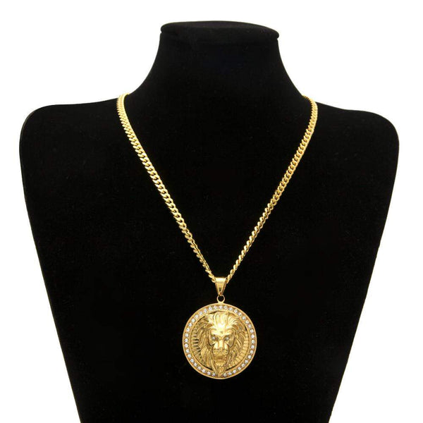 Gorgeous Gold Plated Lion Crystal Necklace - Animals Realm