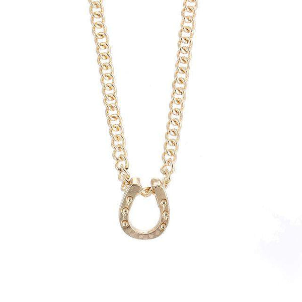 Lucky Horseshoe Gold Plated Necklace - Animals Realm