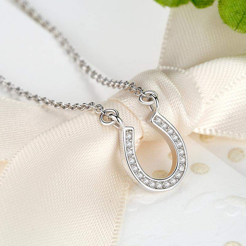 S925 Silver Horseshoe Necklaces with Cubic Zircon - Animals Realm