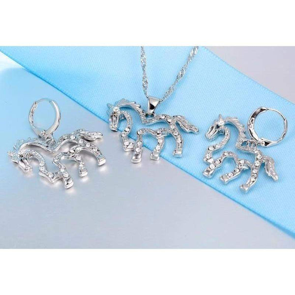 Gorgeous Silver Necklace and CZ Crystal Earrings - Animals Realm