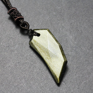 Luxurious Natural Obsidian Stone Wolf Fang Necklace