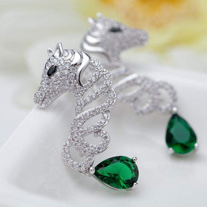 Luxurious Platinum Plated CZ Crystal Horse Earrings - Animals Realm