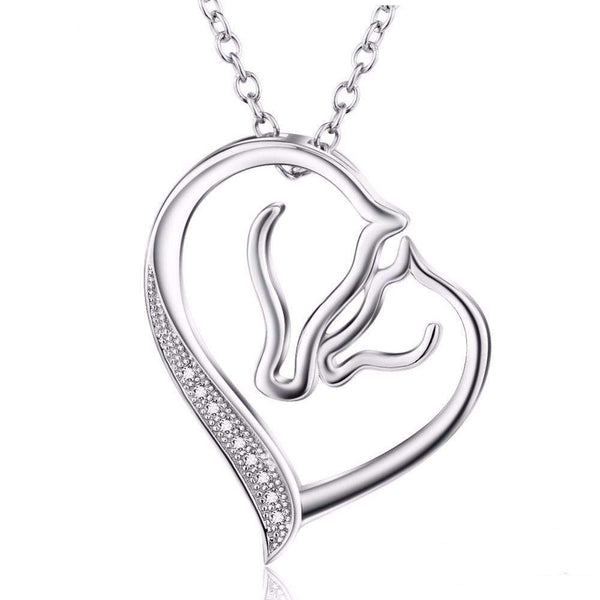 Luxurious Pure S925 Silver Horse Heart Necklace - Animals Realm