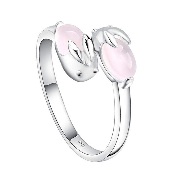 Gorgeous Silver Plated Double Pink Bunny Ring-Animals Realm