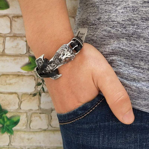 Silver Anchor Lion Bracelet - Animals Realm