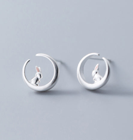 Luxurious Pure S925 Silver Bunny Moon Earrings
