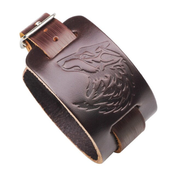 Unique Wolf Leather Bracelet