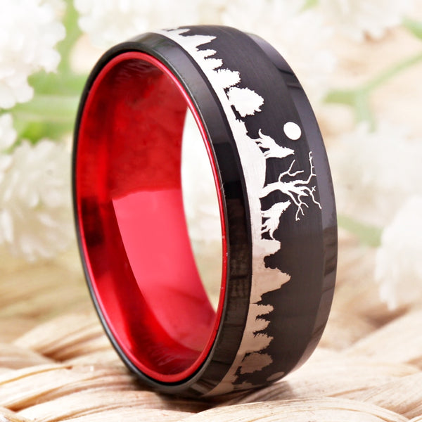 Unique Red and Black Tungsten Handmade Wolf Ring