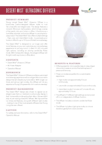 Young Living Certified Pure Therapeutic Grade Oils Australia - Desert Mist Diffuser