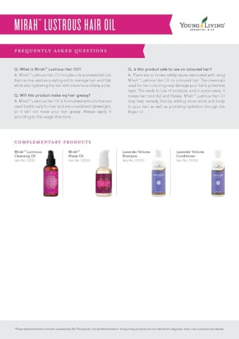Mirah™ Lustrous Hair Oil | young living pure essential oils afterpay | life in oils