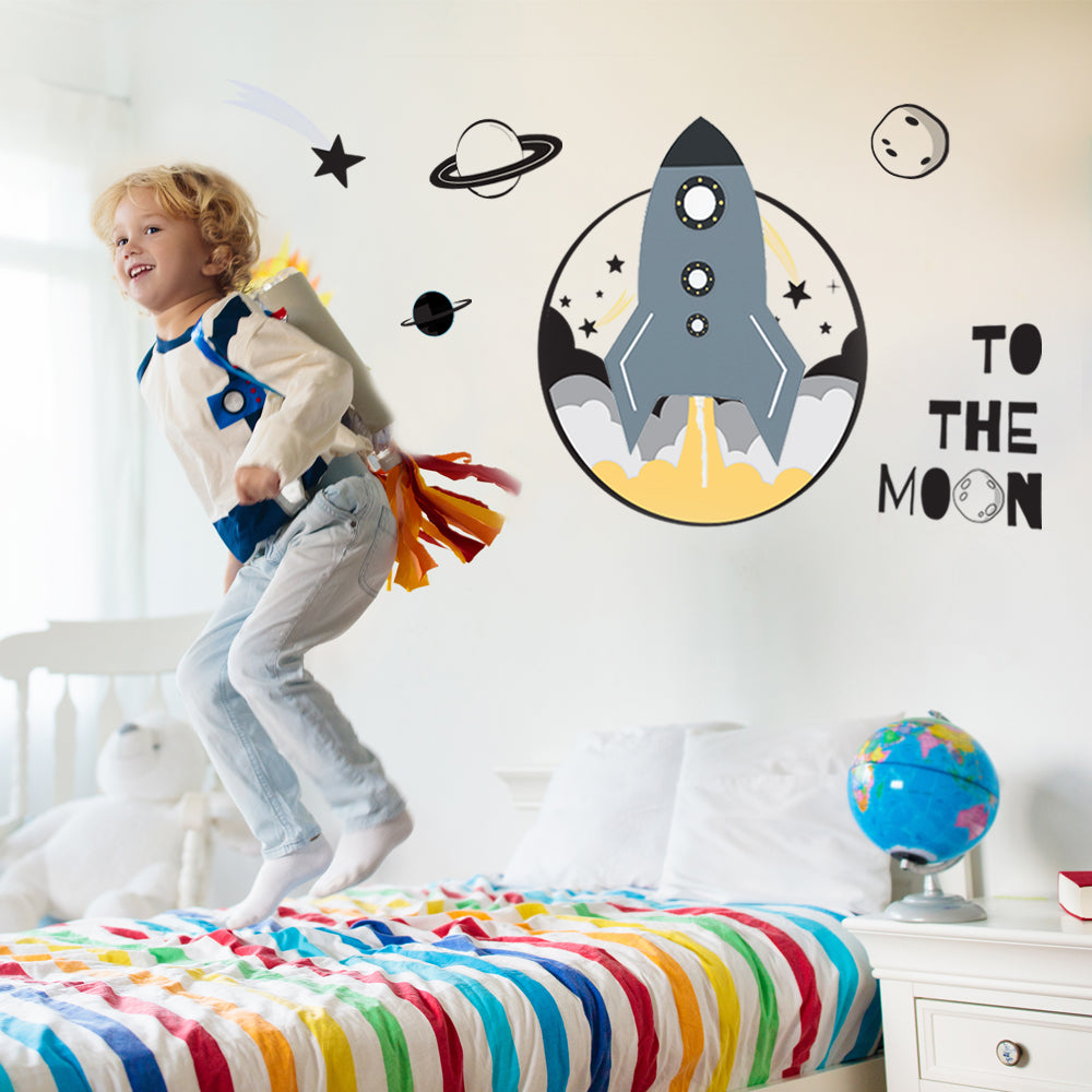 Spaceship LED Wall Lamp & Decal Set for Children