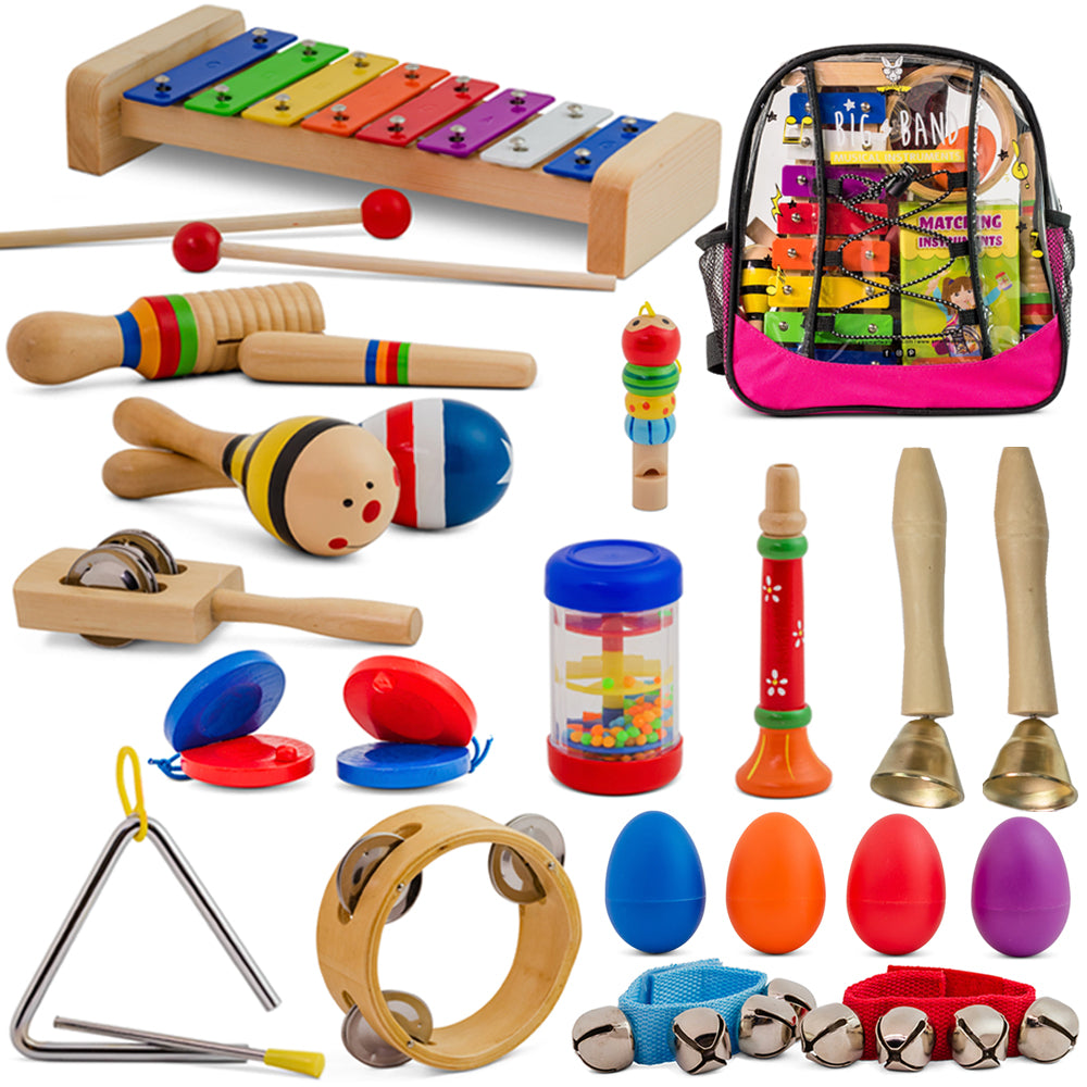 Big Band - 25 Pcs. Musical Instruments Set with Pink Backpack