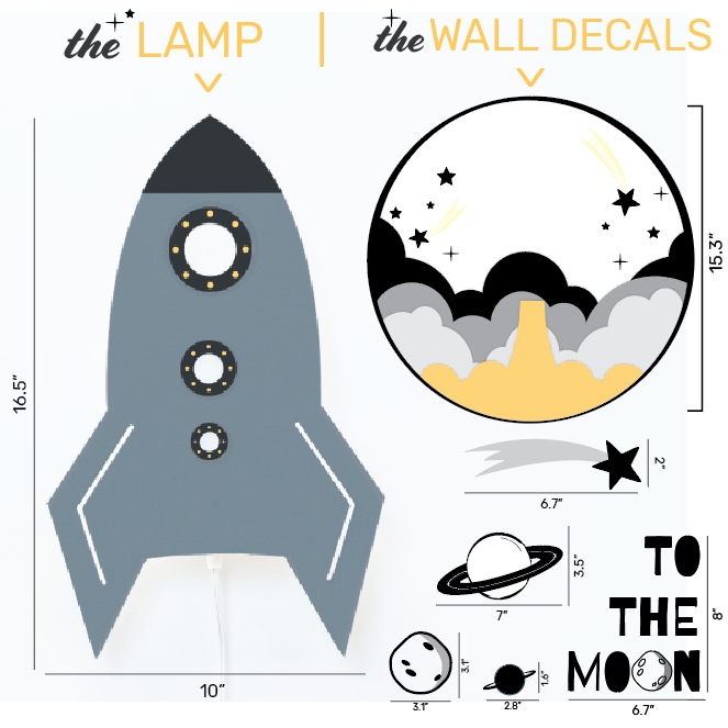 Wall Lamp & Decals Spaceship Theme Set