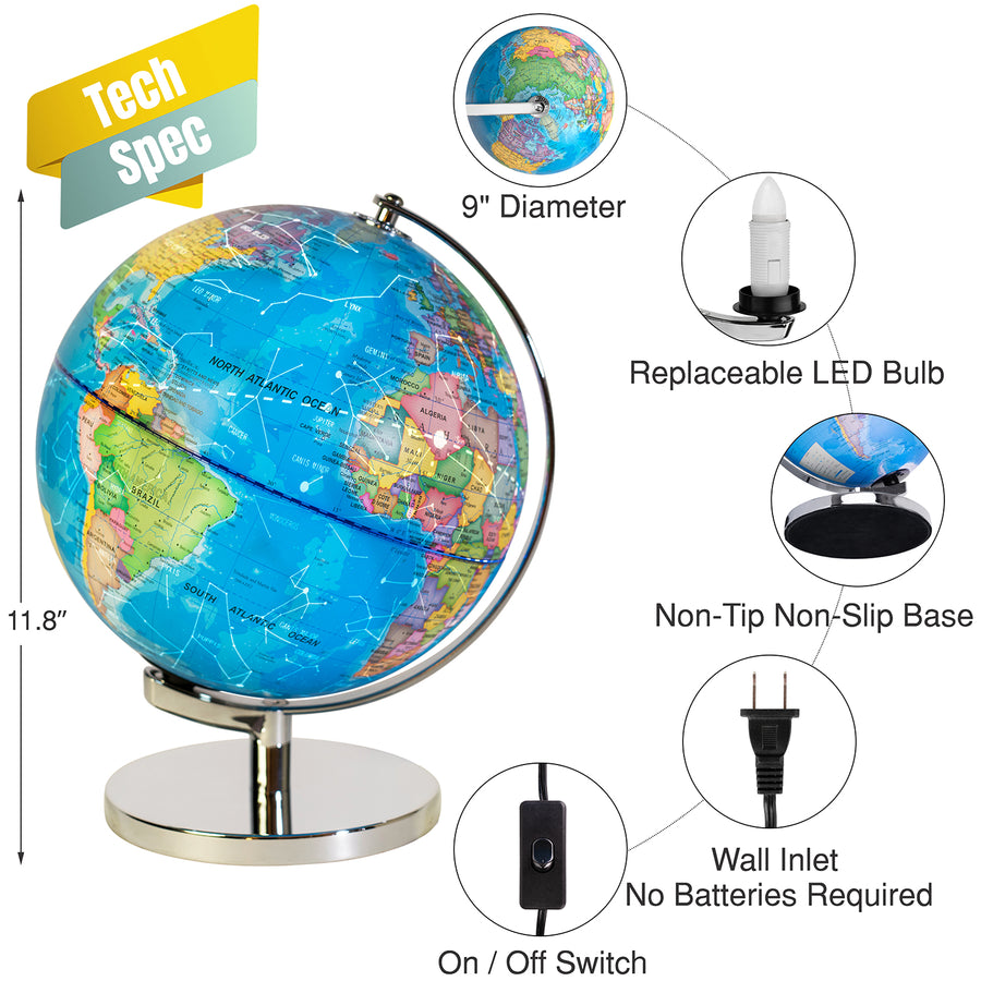 "3-in-1 World Globe for Kids, 9"" -  Geographic Map, Constellation Map, and LED night Light"