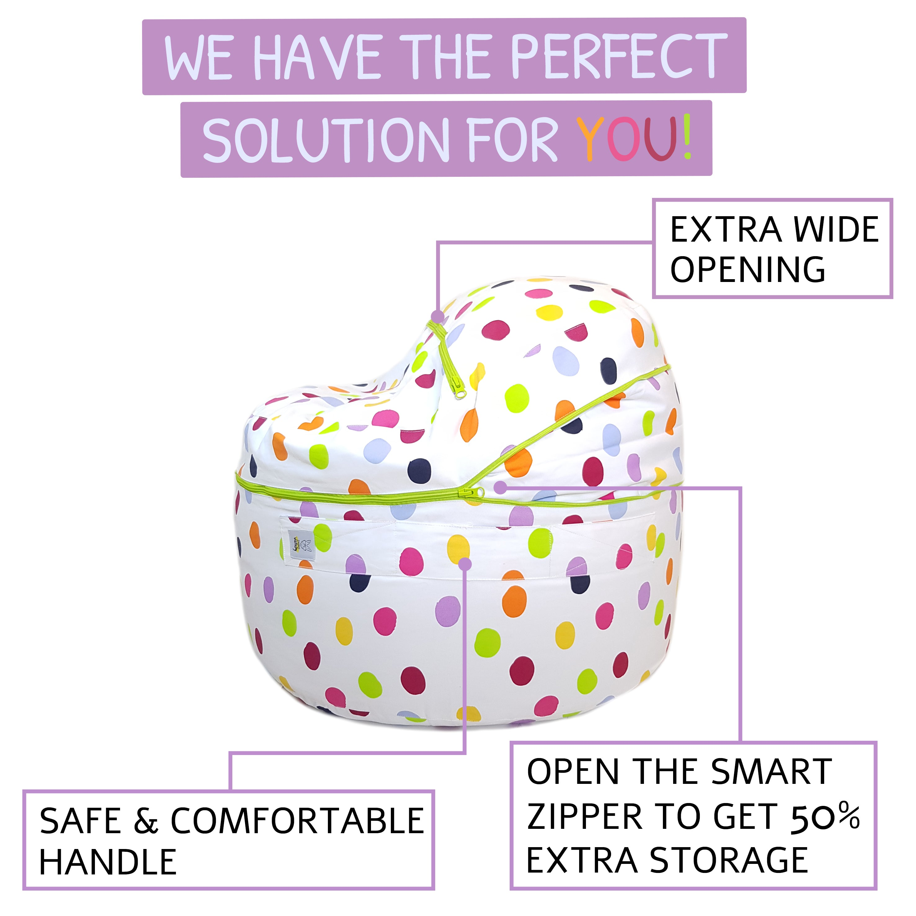 """Happy Dots"" Stuffed Animal Storage Bean Bag Chair Cover"
