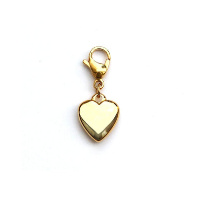 Gold heart cat collar charm