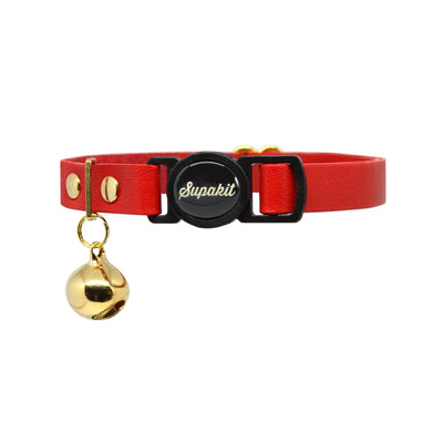 Red Leather Cat Collar With Bell - Supakit®