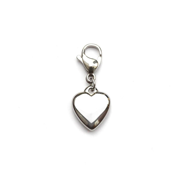 Silver heart cat collar charm