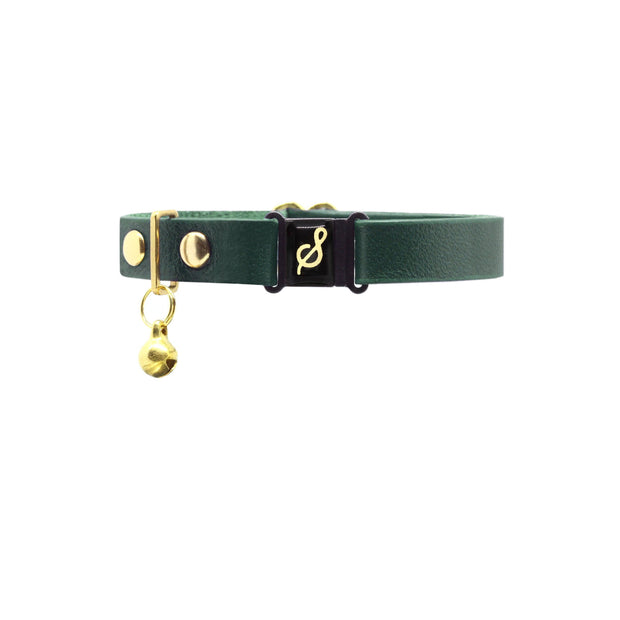 Small green kitten collar in leather by Supakit